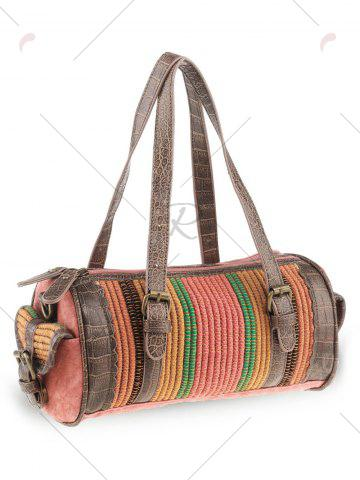 Buy Ethnic Canvas Cylinder Shaped Tote Bag - WATERMELON RED  Mobile