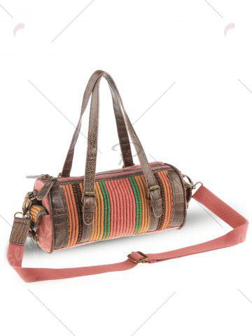 Discount Ethnic Canvas Cylinder Shaped Tote Bag - WATERMELON RED  Mobile