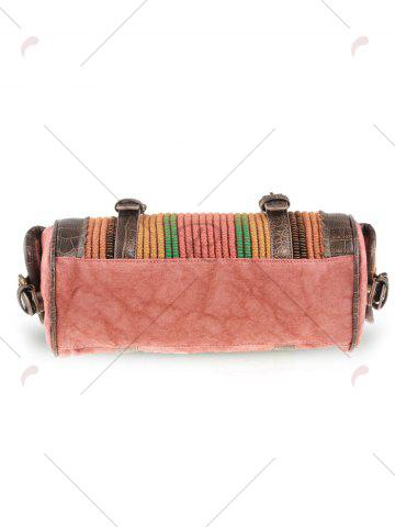 Outfits Ethnic Canvas Cylinder Shaped Tote Bag - WATERMELON RED  Mobile