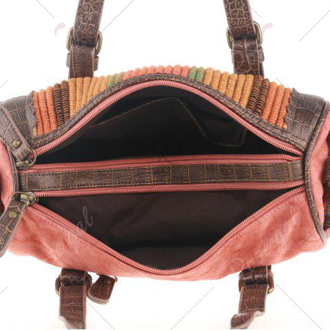 Fancy Ethnic Canvas Cylinder Shaped Tote Bag - WATERMELON RED  Mobile
