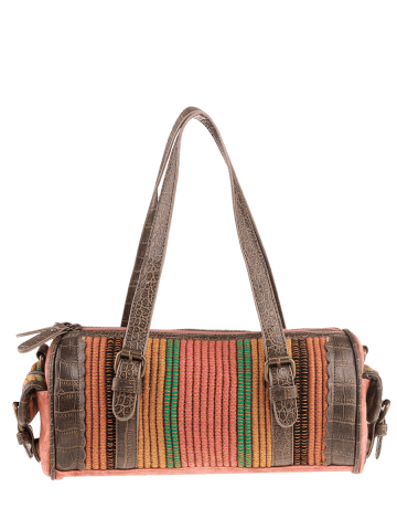 Unique Ethnic Canvas Cylinder Shaped Tote Bag - WATERMELON RED  Mobile