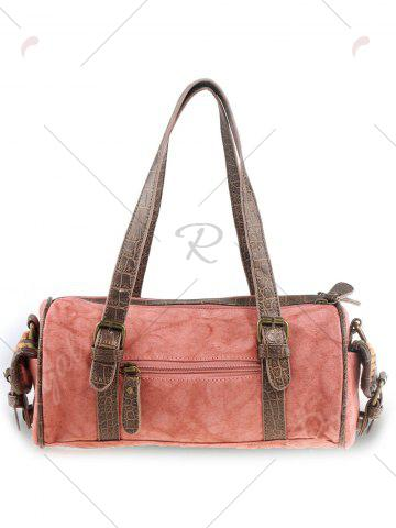 Online Ethnic Canvas Cylinder Shaped Tote Bag - WATERMELON RED  Mobile