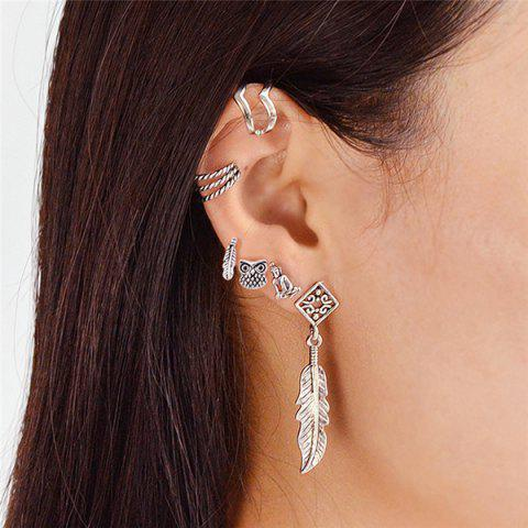 Alloy Owl Feather Cartilage Earring Set - Silver
