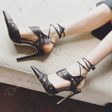Buy Hollow Out Tie Up Stiletto Heel Sandals - 37 BLACK Mobile