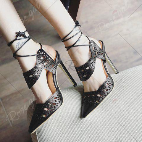 Latest Hollow Out Tie Up Stiletto Heel Sandals - 37 BLACK Mobile