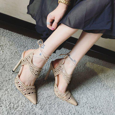 Fashion Hollow Out Tie Up Stiletto Heel Sandals