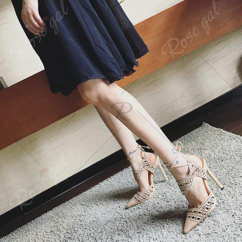 Online Hollow Out Tie Up Stiletto Heel Sandals - 39 APRICOT Mobile