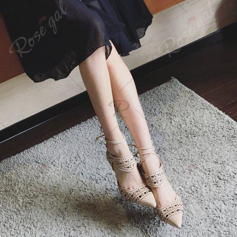 Outfit Hollow Out Tie Up Stiletto Heel Sandals - 39 APRICOT Mobile