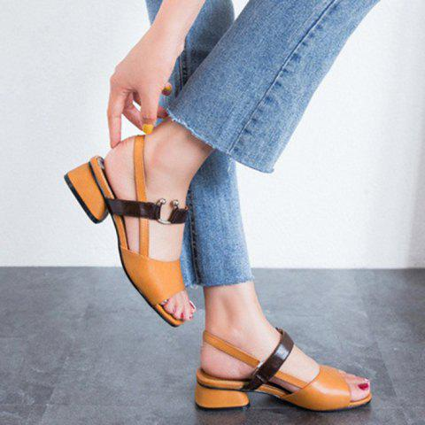 Fashion Mid Heel Colour Block Sandals - 39 BROWN Mobile