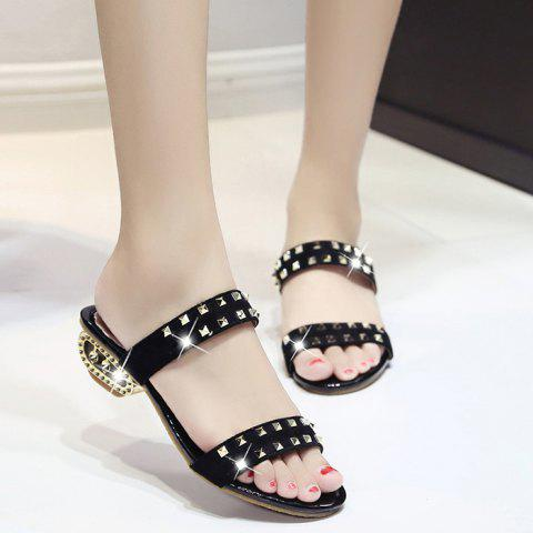 Outfits Suede Rivets Strange Style Slippers BLACK 41