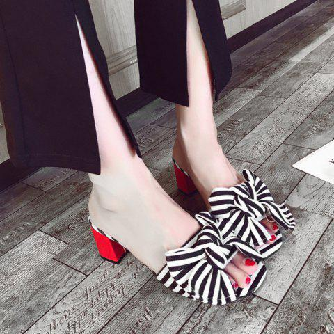 Fashion Bow Striped Mid Heel Slippers - 39 BLACK Mobile