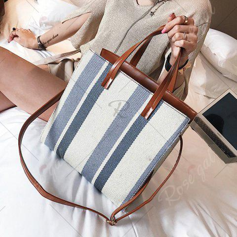 Affordable Stripe Canvas Tote Bag - GRAY  Mobile
