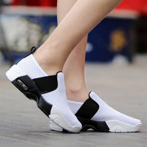 Trendy Breathable Elastic Band Mesh Athletic Shoes - 38 WHITE Mobile