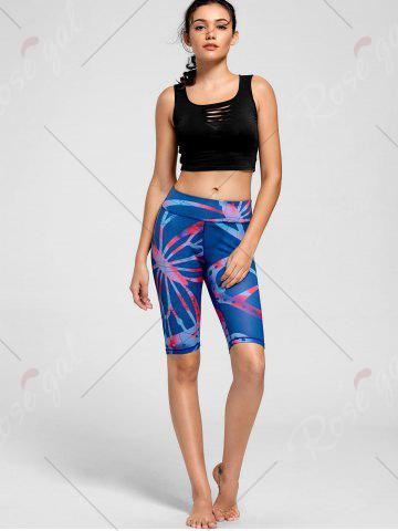 Fashion Active Pattern Running Slim Shorts - S BLUE Mobile