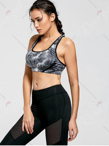 Fashion Ink Painting Padded Sports Bra - M CHROME Mobile