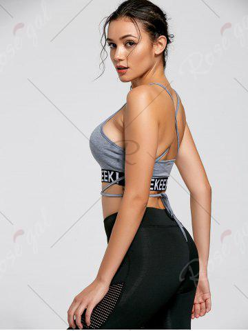 Best Backless Strappy Wrap Crop Tank Top - S LIGHT GREY Mobile