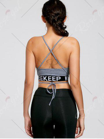 Cheap Backless Strappy Wrap Crop Tank Top - S LIGHT GREY Mobile