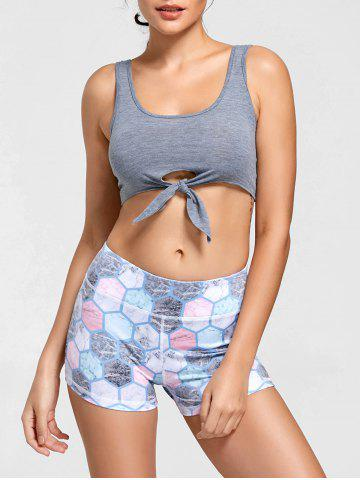 New Active Cropped Front Tie Tank Top - L LIGHT GREY Mobile