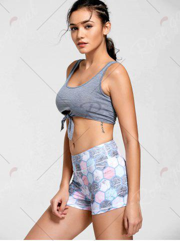 Buy Active Cropped Front Tie Tank Top - L LIGHT GREY Mobile