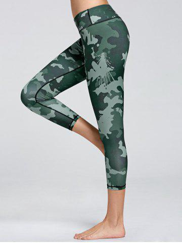 High Waist Camo Print Fitness Leggings - Green - Xl