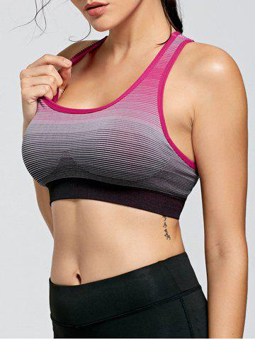 Trendy Stripe Ombre Yoga Padded  Bra WATERMELON RED M