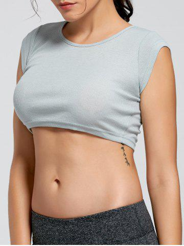 Latest Active Ribbed Crop T-shirt - M SMOKY GRAY Mobile