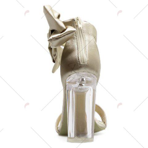 Fancy Bow Clear Chunky Heel Sandals - 39 CHAMPAGNE Mobile