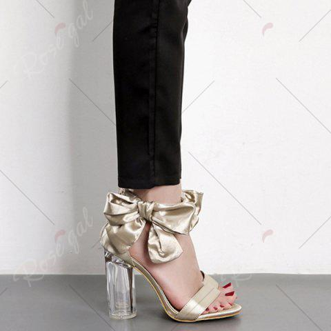 Latest Bow Clear Chunky Heel Sandals - 39 CHAMPAGNE Mobile