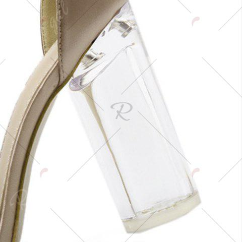 Outfit Bow Clear Chunky Heel Sandals - 39 CHAMPAGNE Mobile