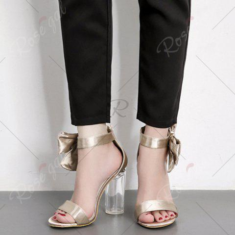 Online Bow Clear Chunky Heel Sandals - 39 CHAMPAGNE Mobile