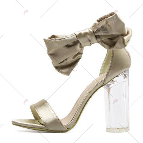 Outfits Bow Clear Chunky Heel Sandals - 39 CHAMPAGNE Mobile