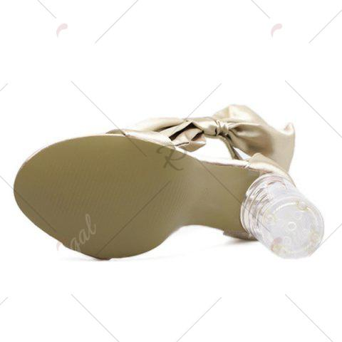 Trendy Bow Clear Chunky Heel Sandals - 39 CHAMPAGNE Mobile