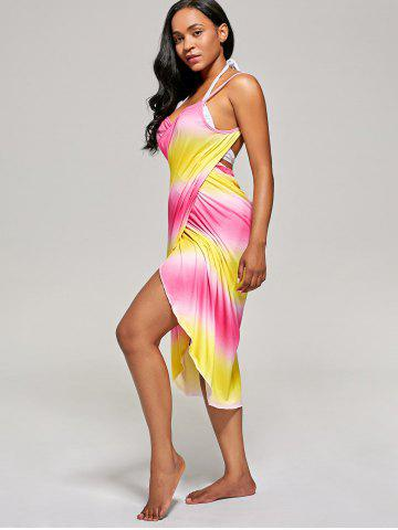 Chic Ombre Cover Up Wrap Dress - ONE SIZE YELLOW AND RED Mobile