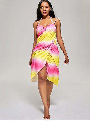 Sale Ombre Cover Up Wrap Dress - ONE SIZE YELLOW AND RED Mobile
