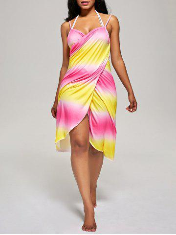 Cheap Ombre Cover Up Wrap Dress - ONE SIZE YELLOW AND RED Mobile