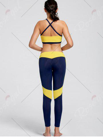 Discount Cutout Padded Sports Bra and Leggings - S YELLOW Mobile