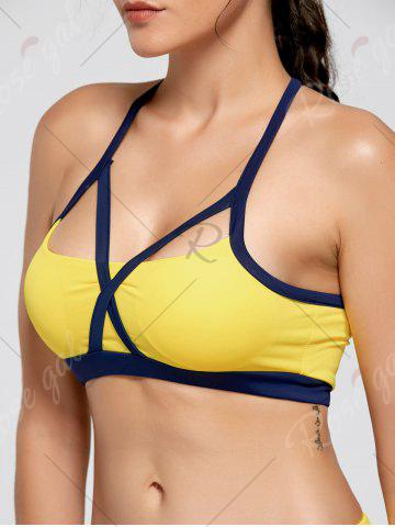 Shop Cutout Padded Sports Bra and Leggings - S YELLOW Mobile