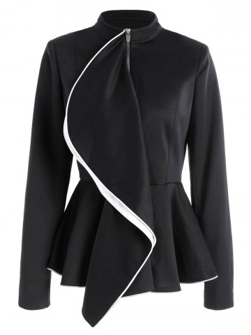 Outfit Ruffles Color Block Zip Up Peplum Jacket - M BLACK Mobile
