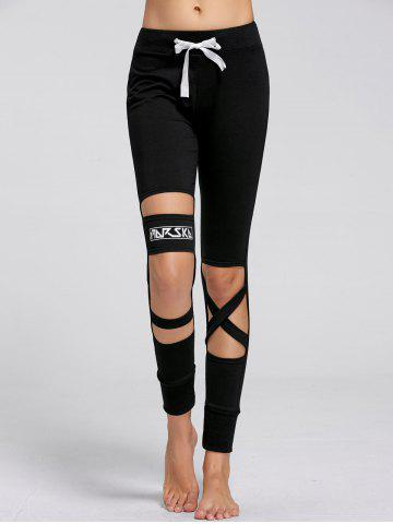 Sport Drawstring Cutout Ripped Joggers Noir S