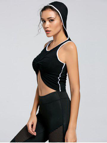 Latest Active Contrast Front Knot Hooded Crop Top BLACK S