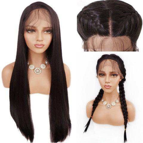 Sale Free Part Long Straight Lace Front Synthetic Wig - DEEP BROWN  Mobile