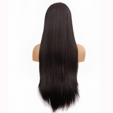Fancy Free Part Long Straight Lace Front Synthetic Wig - DEEP BROWN  Mobile
