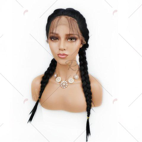 Sale Free Part Long Straight Lace Front Synthetic Wig - BLACK  Mobile