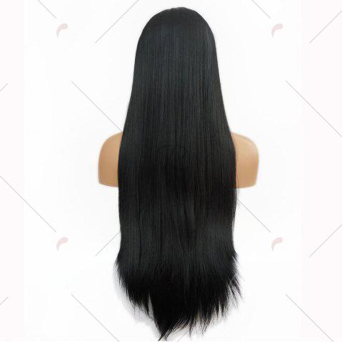 Chic Free Part Long Straight Lace Front Synthetic Wig - BLACK  Mobile