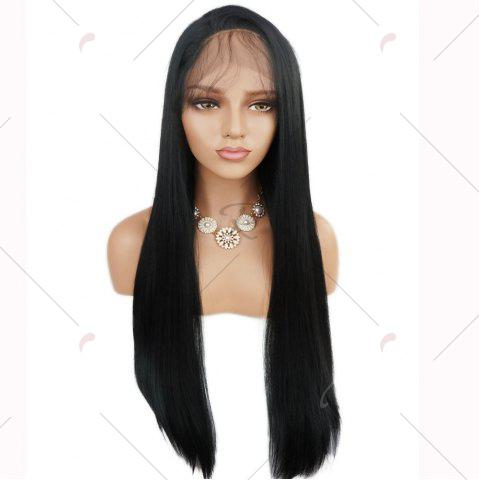 Cheap Free Part Long Straight Lace Front Synthetic Wig - BLACK  Mobile