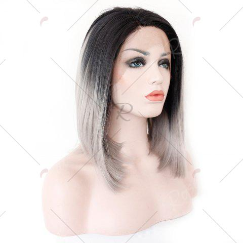 Discount Medium Colormix Side Part Straight Bob Lace Front Synthetic Wig - BLACK AND GREY  Mobile