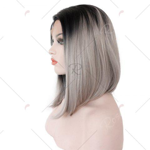 Affordable Medium Colormix Side Part Straight Bob Lace Front Synthetic Wig - BLACK AND GREY  Mobile