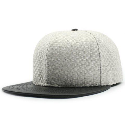 New Flat Brim Spliced Tiny Plaid Baseball Cap WHITE
