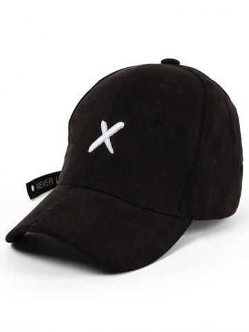 Fancy Cross Embroidered Long Tail Baseball Cap - BLACK  Mobile