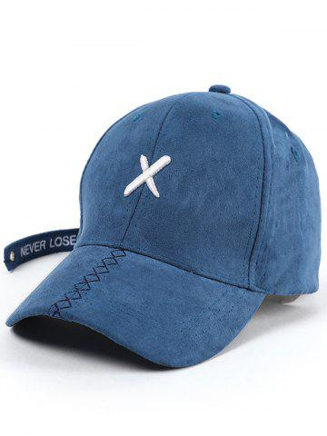 Outfits Cross Embroidered Long Tail Baseball Cap - BLUE  Mobile